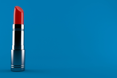 Red lipstick isolated on blue background. 3d illustration