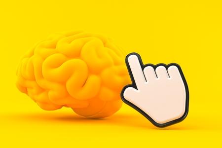Intelligence background with cursor in orange color. 3d illustration