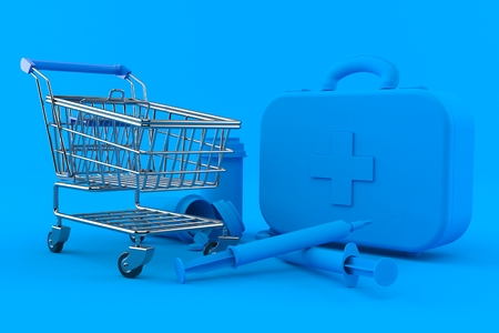 Healthcare background with shopping cart in blue color. 3d illustration