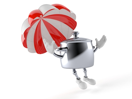 Kitchen pot character with parachute isolated on white background. 3d illustration