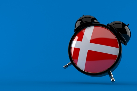 Alarm clock with danish flag isolated on blue background. 3d illustration