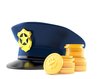 Police hat with stack of coins isolated on white background. 3d illustration