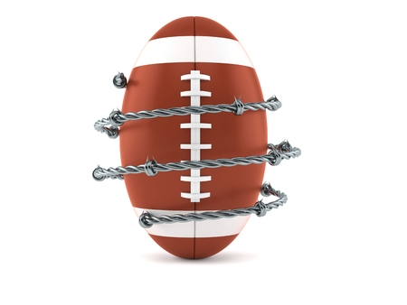 Rugby ball with barbed wire isolated on white background. 3d illustration Archivio Fotografico - 102423247