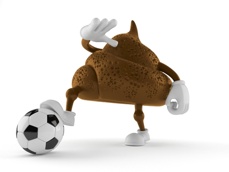 Poop character with soccer ball isolated on white background. 3d illustration