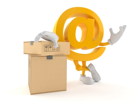 E-mail character with stack of boxes isolated on white background. 3d illustration