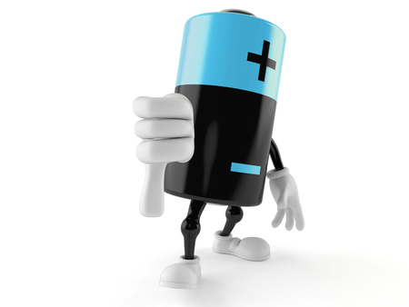Battery character with thumb down isolated on white background. 3d illustration