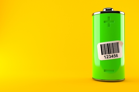 Green battery with barcode isolated on orange background. 3d illustration