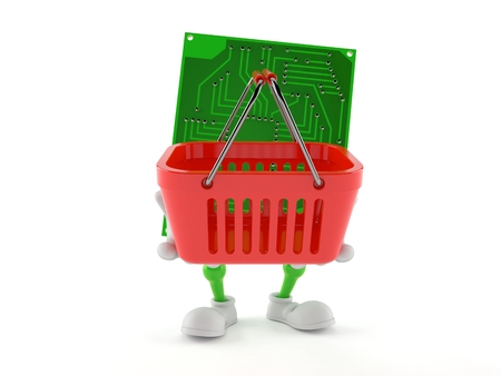 Circuit board character holding shopping basket isolated on white background. 3d illustration