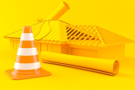House development background with traffic cone in orange color. 3d illustration