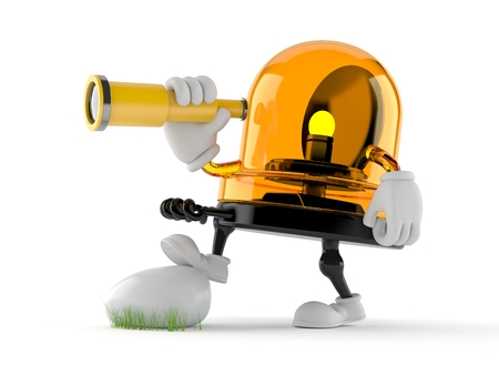 Emergency siren character looking through a telescope isolated on white background. 3d illustration Stock Photo