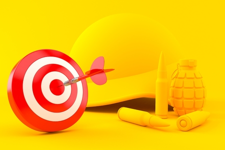 Military background with bulls eye in orange color. 3d illustration Stock Photo