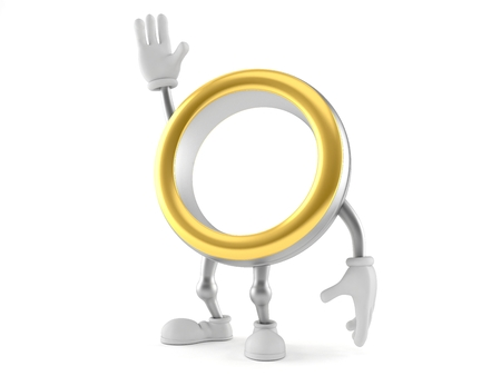 Wedding ring character with hand up isolated on white background. 3d illustration