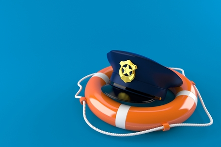 Police hat with life buoy isolated on blue background. 3d illustration