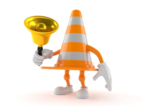 Traffic cone character holding a hand bell isolated on white background. 3d illustration