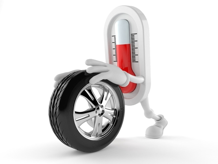 Thermometer character rolling spare wheel isolated on white background. 3d illustration
