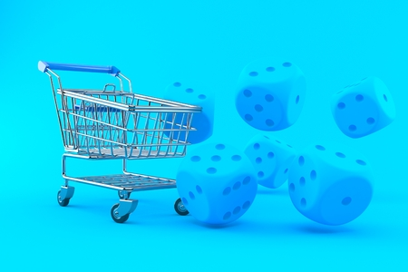 Gambling background with shopping cart in blue color. 3d illustration
