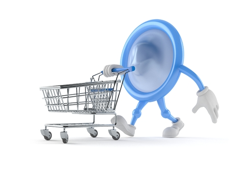 Condom character with shopping cart isolated on white background. 3d illustration