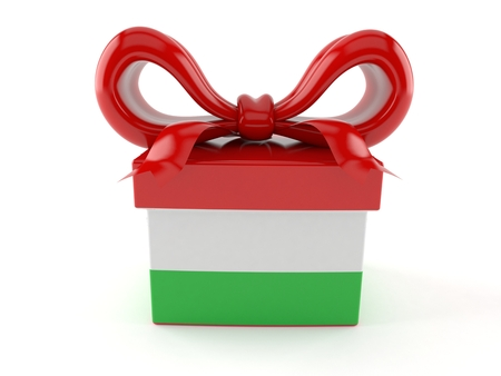 Gift with hungarian flag isolated on white background. 3d illustration Stock Photo