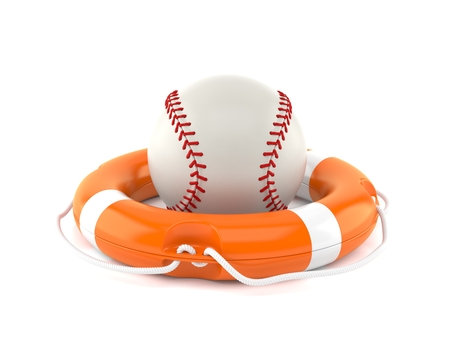 Baseball ball with life buoy isolated on white background. 3d illustration