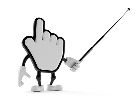 Cursor character aiming with pointer stick isolated on white background. 3d illustration