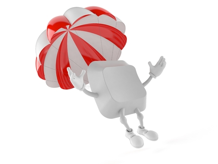 Computer key character with parachute isolated on white background. 3d illustration