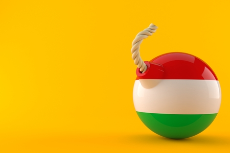 Bomb with hungarian flag isolated on orange background. 3d illustration