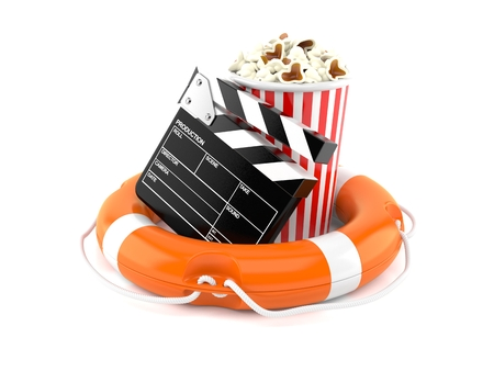 Popcorn and clapboard with life buoy isolated on white background. 3d illustration