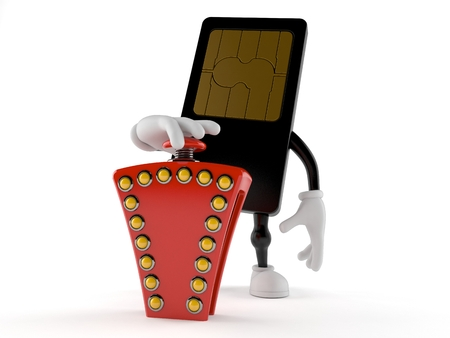 SIM card character pushing quiz button isolated on white background. 3d illustration