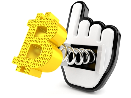 Bitcoin symbol with web cursor isolated on white background. 3d illustration 免版税图像