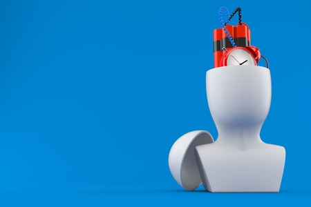 Time bomb inside head isolated on blue background. 3d illustration