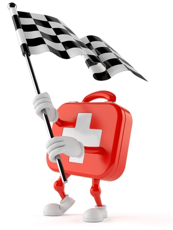 First aid kit character waving race flag isolated on white background. 3d illustration Stock Photo