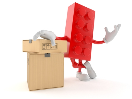 Toy block character with stack of boxes isolated on white background. 3d illustration