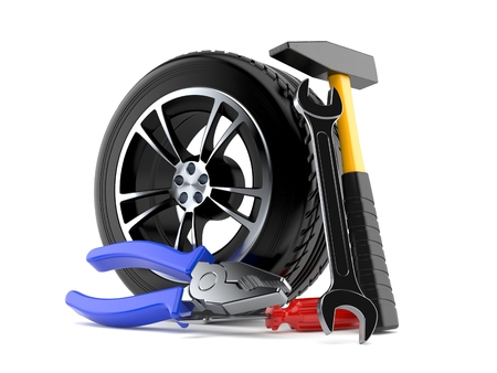 Car wheel with work tools isolated on white background. 3d illustration