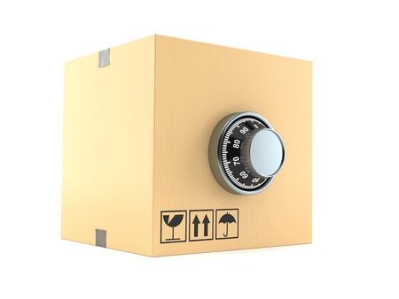 Package with combination lock isolated on white background. 3d illustration
