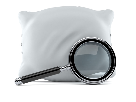 Pillow with magnifying glass isolated on white background. 3d illustration