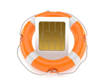 SIM card with life buoy isolated on white background. 3d illustration
