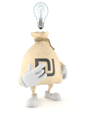 Shekel money bag character with an idea isolated on white background. 3d illustration Banque d'images