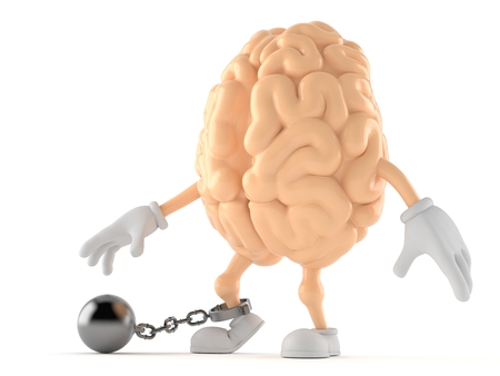 Brain character with prison ball isolated on white background. 3d illustration Stock Photo