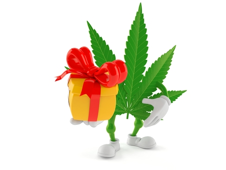 Cannabis character holding gift isolated on white background. 3d illustration