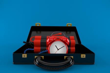 Time bomb inside briefcase isolated on blue background. 3d illustration