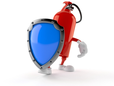 Fire extinguisher character with protective shield isolated on white background. 3d illustration