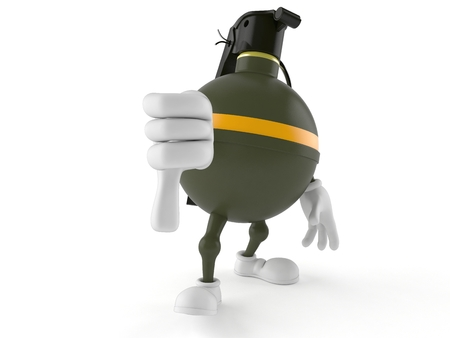 Hand grenade character with thumb down isolated on white background. 3d illustration