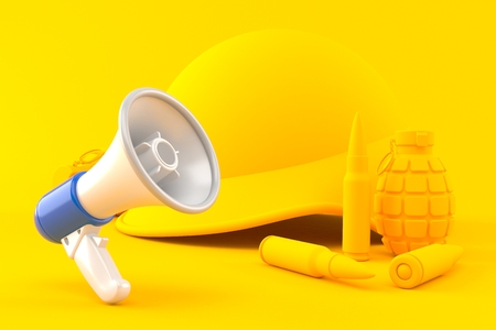 Military background with megaphone in orange color. 3d illustration