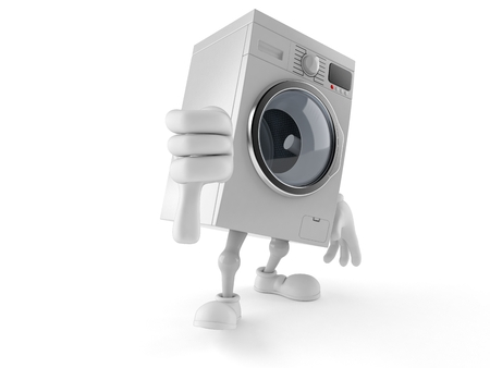 Washer character with thumb down isolated on white background. 3d illustration