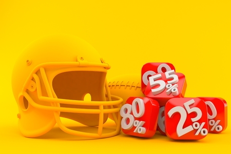 American football background with percent numbers in orange color. 3d illustration