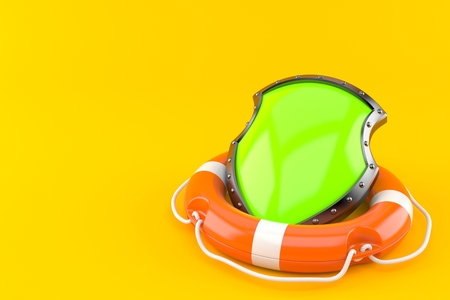 Shield with life buoy isolated on orange background. 3d illustration