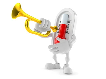 Thermometer character playing the trumpet isolated on white background. 3d illustration