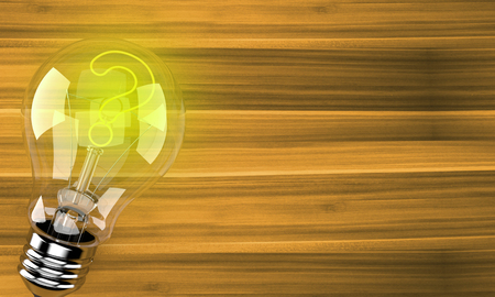 Light bulb with question mark on wooden background. 3d illustration