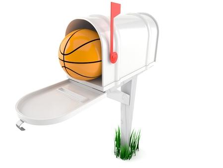 Basketball ball inside mailbox isolated on white background. 3d illustration