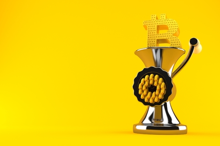 Bitcoin symbol inside mincer isolated on orange background. 3d illustration